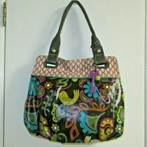 Fossil Key-Per Black Floral Coated Canvas Shoulder Bag Tote Euc Photo