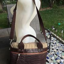 Fossil Key-Per Brown Quilted Laptop Bag Crossbody Tote Photo