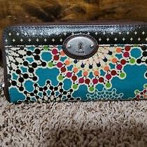 Fossil Key-Per Clutch Zip Around Wallet Coated Canvas & Leather Photo