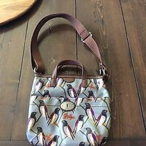 Fossil Key Per Coated Canvas Cross Body Shoulder Tote Bag Bird Gray Brown Photo