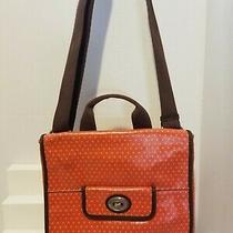 Fossil Key Per Coated Canvas Crossbody Bag Purse Orange Brown Photo