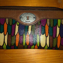 Fossil Key-Per Coated Canvas Zip Around Wallet Clutch Brown Leather Trim Photo