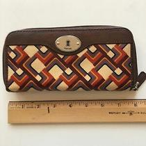 Fossil Key-Per Colorful Coated Canvas Wallet Brown Leather Trim Clutch  Photo