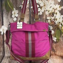 Fossil Key Per Convertible Tote Crossbody Magenta Canvas Leather Trim Pink - New Photo
