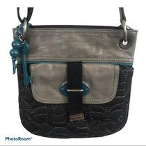 Fossil Key Per Cross Body Handbag Black Quilted Embroidered Turquoise Grey Purse Photo