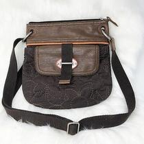 Fossil Key-Per Crossbody Bag Flap Embroidered Coated Canvas Brown Photo