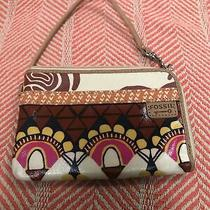 Fossil Key-Per Floral Pvc Coated Brown Cow Hide Leather Wristlet Wallet Clutch Photo