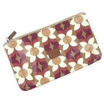 Fossil Key-Per Flower Floral Print Oil Cloth Coated Canvas Clutch Cosmetic Bag Photo