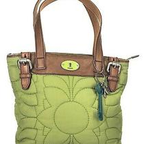 Fossil Key- Per Green Quilted Brown Leather Buckle Shoulder Tote Bag Photo