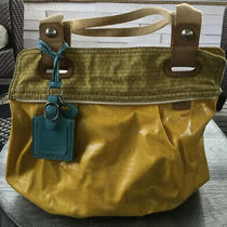 Fossil Key-Per Hobo Handbag Laminated Yellow Canvas Shoulder Bag Purse Satchel Photo