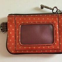Fossil Key-Per Id Credit Card Case Key Clip Orange Red Vinyl Coin Zipper Pouch Photo