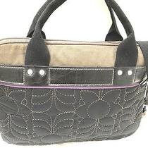 Fossil Key-Per Laptop Attache Bag Briefcase Black/brown/purple Quilted Canvas Photo