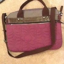 Fossil-Key Per-Laptop-Attache-Messenger -Bag-Briefcase-Eggplant Quilted W/strap Photo