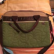 Fossil Key Per Laptop Messenger Bag Briefcase Quilted Floral Canvas Green Photo