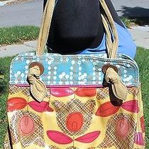 Fossil Key Per Large Coated Canvas Handbag Shoulder Shopper Tote Yellow Knotted Photo