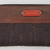 Fossil Key Per Leather & Cloth Wallet Clutch Organizer Zip Around Quilted Brown  Photo
