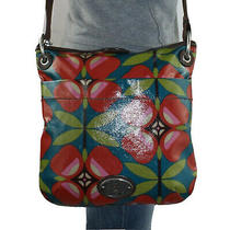 Fossil Key-Per Med Coated Canvas Shoulder Hobo Tote Crossbody Slouch Purse Bag Photo