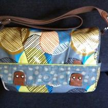 Fossil Key Per Messenger Diaper Tote Bag Circles Large Preowned Photo