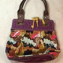 Fossil Key-Per Multicolor Coated Canvas Shoulder Bag Tote Euc Photo
