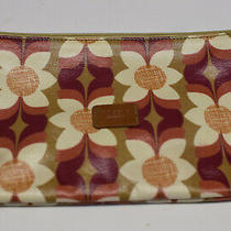 Fossil Key-Per Orange Floral Coated Canvas Zip Cosmetic Case Photo