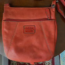 Fossil Key Per Orange Pebbled Leather Crossbody Messenger Shoulder Bag Purse  Photo