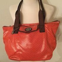 Fossil Key-Per Orange W/diamonds Coated Canvas Shoulder Bag Tote Shopper  Photo