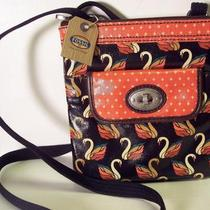 Fossil Key Per Purse Mini Minibag Black Multi Swans Nwt Photo