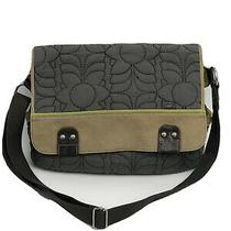 Fossil Key-Per Quilted Messenger Bag Gray Green 17 Laptop Pockets Magnetic Photo