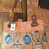 Fossil Key Per Shopper Bird Canvas & Leather Birdcage Tote Shb1083390 Nwt Photo
