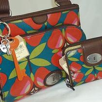 Fossil Key-Per Shoulder/crossbody Bag & Wallet Floral Multi-Color Unique Nwt Photo