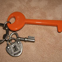 Fossil Key-Per Soft Orange  Plastic Key Ring Tag Fob  W/ Brushed Silver Photo