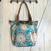 Fossil Key-Per Teal Geometric Pattern Coated Canvas Tote Bag Photo