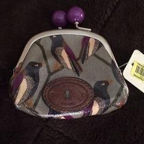 Fossil Key-Per Vintage Bird Kisslock Coin Purse Purple Leather Canvas Rare Nwt  Photo