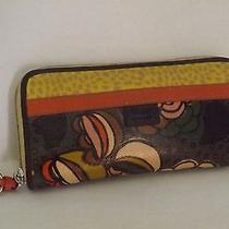 Fossil Key Per Wallet Mod Print Mustard Orange Fob Pocketbook Card Holder  Photo