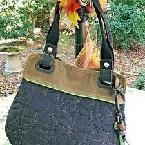 Fossil Key Per Women's Black Quilted Fabric Canvas Tote Shoulder Bag Handbag (P) Photo