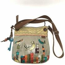 Fossil Key Per Womens Crossbody Shoulder Bag Coated Canvas Painted Birds Photo