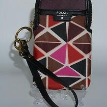 Fossil Key-Per Wristlet Geometric Coated Canvas Leather Preowned Photo