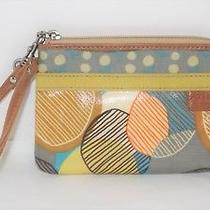 Fossil Key Per Wristlet Wallet Coated Canvas Multicolor Zipper Photo