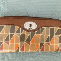 Fossil Key-Per Zip-Around Brown Orange Gray Coated Canvas Leather Clutch Wallet  Photo