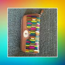 Fossil Key-Per Zip Around Clutch Wallet. Multi Colored Exterior With Leather... Photo
