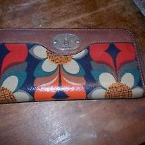 Fossil Key-Per Zip Around Leather & Coated Canvas Wallet  Photo