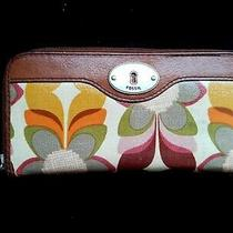 Fossil Key Per Zip Around Wallet Brown Floral Clutch Leather Euc Photo