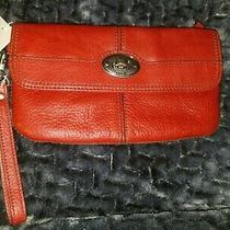 Fossil Key Red Leather Wristlet New With Tags  Photo