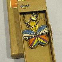 Fossil Keychain Key Ring Fob Leather Butterfly Sl4250065 Nwt Nib Photo