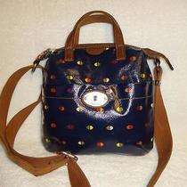 Fossil Keyper  Adorable Navy Blue Oilcloth Vinyl Coated Canvas Tote Cross Body Photo