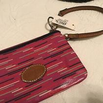 Fossil Keyper Berry Stripe Zip Around Wristlet Wallet Clutch New Tags Photo
