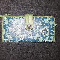 Fossil Keyper Blue / Aqua Floral Leather Wallet Nwot Beautiful Green Accent Photo