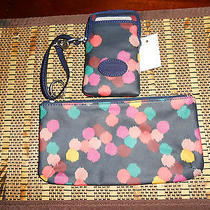 Fossil Keyper Cell Phone Wristlet Wallet With Matching Make-Up Cosmetic Bag Nwot Photo