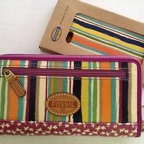 Fossil Keyper Clutch Wallet & Iphone 5 Case - Zip Around  - Bright Stripe - Nwt Photo