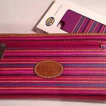 Fossil Keyper Clutch Wallet & Iphone 5 Case - Zip Around  -Colorful Stripes -Nwt Photo